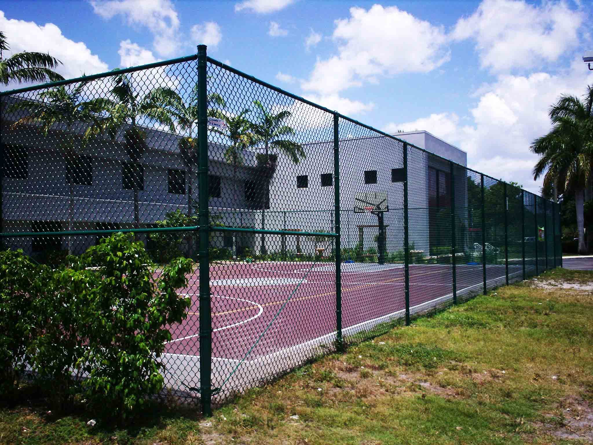 Tennis Court with green fencing